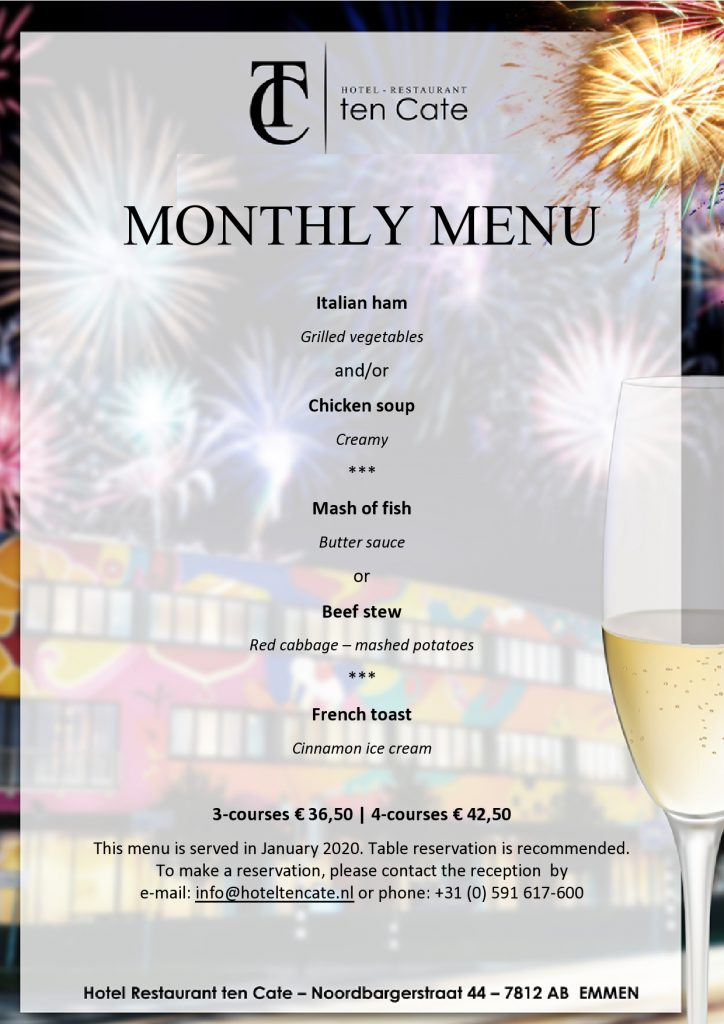 January monthly menu 2020